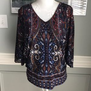 COCO BIANCO Paisley Open Butterfly Sleeve Top NWOT